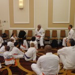Beginner students spend time with one of Shorin-Ryu Karate's most influential American masters
