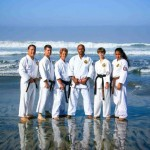 Renshi with the senior karate students in attendance at Oceanside beach for the annual beach training